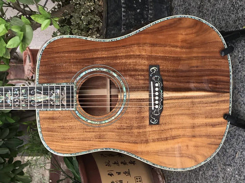 free shipping koa wood guitar deluxe Abalone inlays Ebony fingerboard D style acoustic Guitar,OEM Solid Spruce top 41 inch Acoustic electric Guitarra