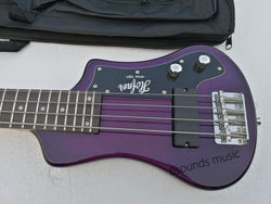 free shipping purple bass hofner shorty bass 4 Strings custom hofner mini travel bass red color bass guitar