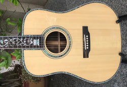 free shipping Acoustic Guitar, Solid spruce top Ebony fingerboard OEM Factory Custom 41 Real Abalone acoustic Guitar