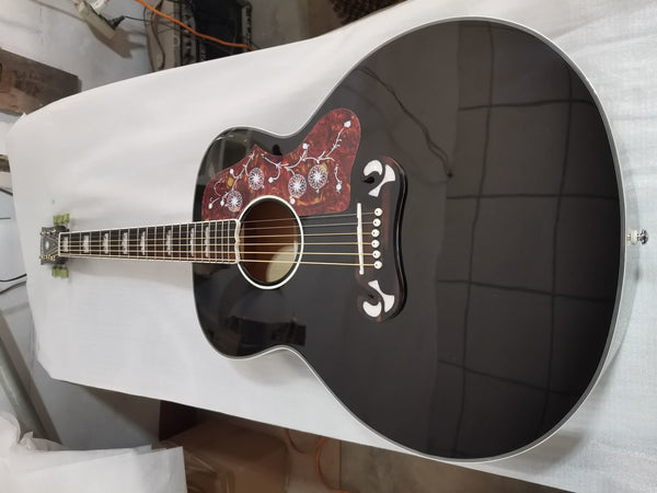 free shipping 43 inches SJ200 chibson jumbo body black J180 custom acoustic electric guitar