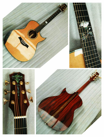 free shipping AAAA all solid wood custom coco bolo wood single cut design acoustic electric guitar