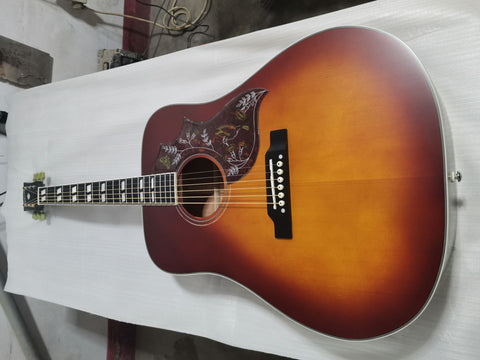 free shipping dreadnought satin finishing vintage hummingbird acoustic guitar ebony fretboard guitar