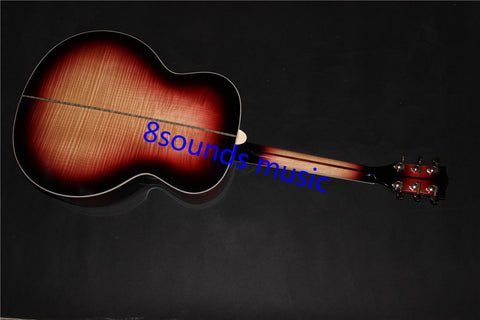 free shipping customize color J200 style jumbo body flame maple acoustic electric guitar