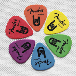 free shipping 100pcs Fender Guitar Picks Plectra Mediators Available Gauges Acoustic Electric Bass Plectrum Mediator 351 Rock-On Touring Guitar part