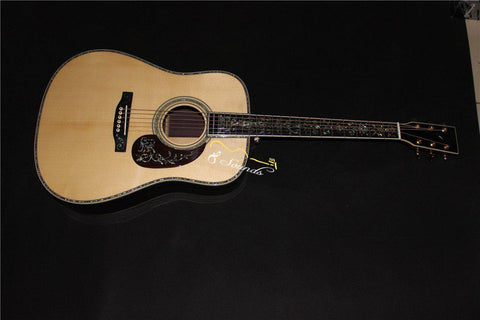 free shipping high end AAA all solid wood D45 acoustic electric guitar OEM acoustic guitar