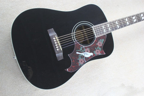 free shipping solid spruce wood top black guitar customize black dove acoustic guitar dreadnought body guitars