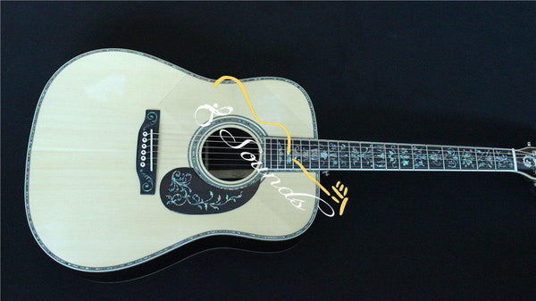 free shipping AAA top quality handmade all solid wood guitar fancy 41 inch Solid Wood Dreadnought Acoustic Guitar