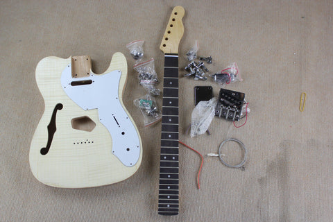 free shipping mahogany guitar kits unfinished tele style electric guitar DIY with F hole flame maple