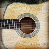 free shipping AAAA handmade all Solid guitar dreadnought body guitar imported wood soundhole EQ D acoustic electric guitar