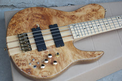 free shipping gold hardware Custom Shop Natural Wood Burl One Piece Neck Through Active Pickups 5 Strings Fodera Butterfly 5 Strings Electric Bass Guitar