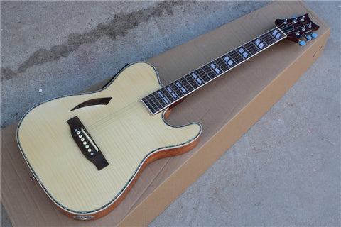 free shipping natural hollow body acoustic electric guitar with eq