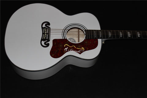 free shipping jumbo body 43 inches white gloss finishing J200 acoustic guitar