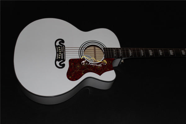 free shipping cutaway jumbo body guitar white color 43 inch electric acoustic guitar high gloss full size 6 string folk guitar