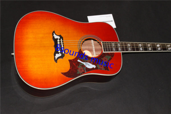 free shipping  dove guitar hummingbird acoustic guitar cherry burst solid acoustic guitar