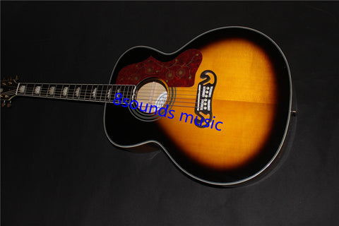 free shipping jumbo solid acoustic guitar with flame maple wood sunburst J200 guitars