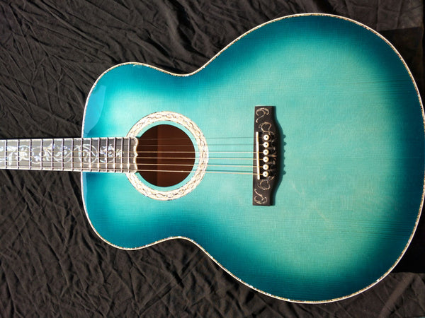 free shipping AAAA all solid wood 43 inches guitar custom super design blue jumbo body acoustic guitar