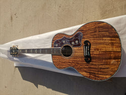free shipping Byron customize all solid koa Jumbo body guitar 6 string 43 inches  acoustic guitar