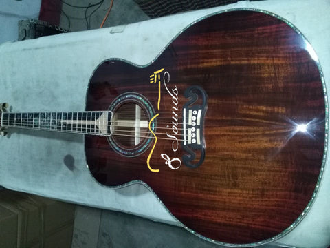 free shipping free hardcase custom handcraft guitar AAAA all solid wood jumbo acoustic electric guitar