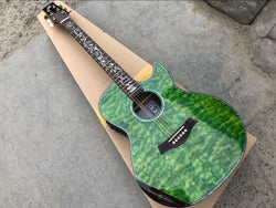 free shipping  Grand Auditorium body style cutway acoustic electric guitar transparent green acoustic guitar