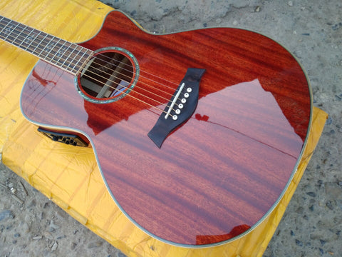 free shipping cutaway solid acoustic guitar presys blend 301 pickups fully mahogany wood new single cut acoustic electric guitar