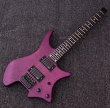 free shipping headless electric guitar professional guitar 6 Strings Purple Headless Electric  Guitarra
