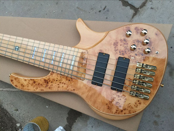 free shipping 6 string bass guitar electric bass with gold hardware active pickups /electric bass guitar