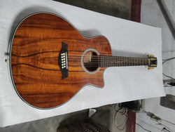 free shipping GA body 12 strings koa acoustic guitar 12 strings single cut acoustic electric folk guitar