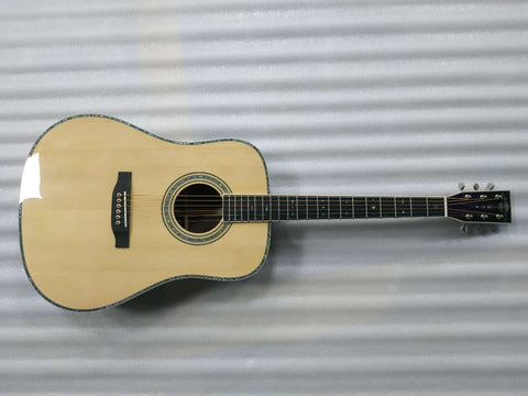 free shipping AAA all solid nature color Nitro finished one piece neck custom dreadnought D style D42 acoustic electric guitar