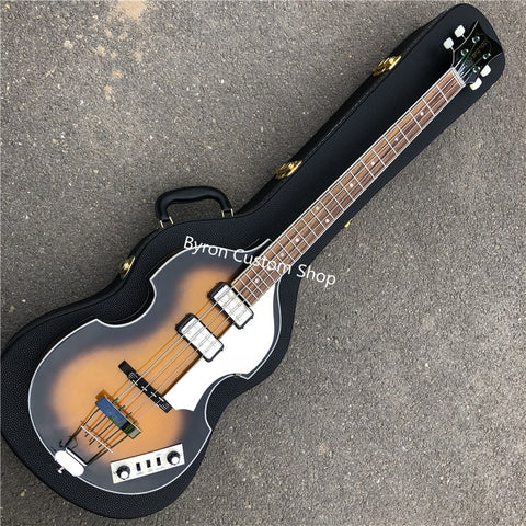 free shipping original handmade 4 string bass Hofner 61 style bass vintage dark burst Mc 61 Cavern style 4 string bass