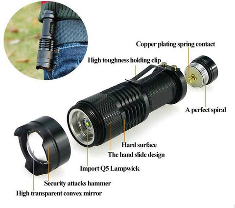 Mini Zoomable Flashlight assembly is best to illuminated all night.