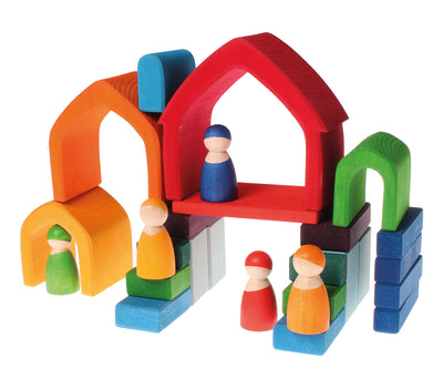 Wooden Stacking House - Coloured - Everbloom Kids