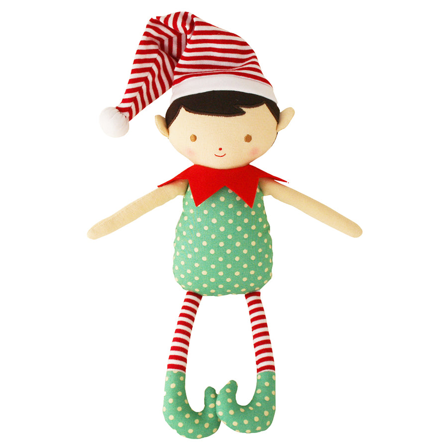 Cheeky Elf Boy Rattle Green Red 26cm - Everbloom Kids