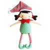 Cheeky Elf Girl Rattle Green Red 26cm - Everbloom Kids