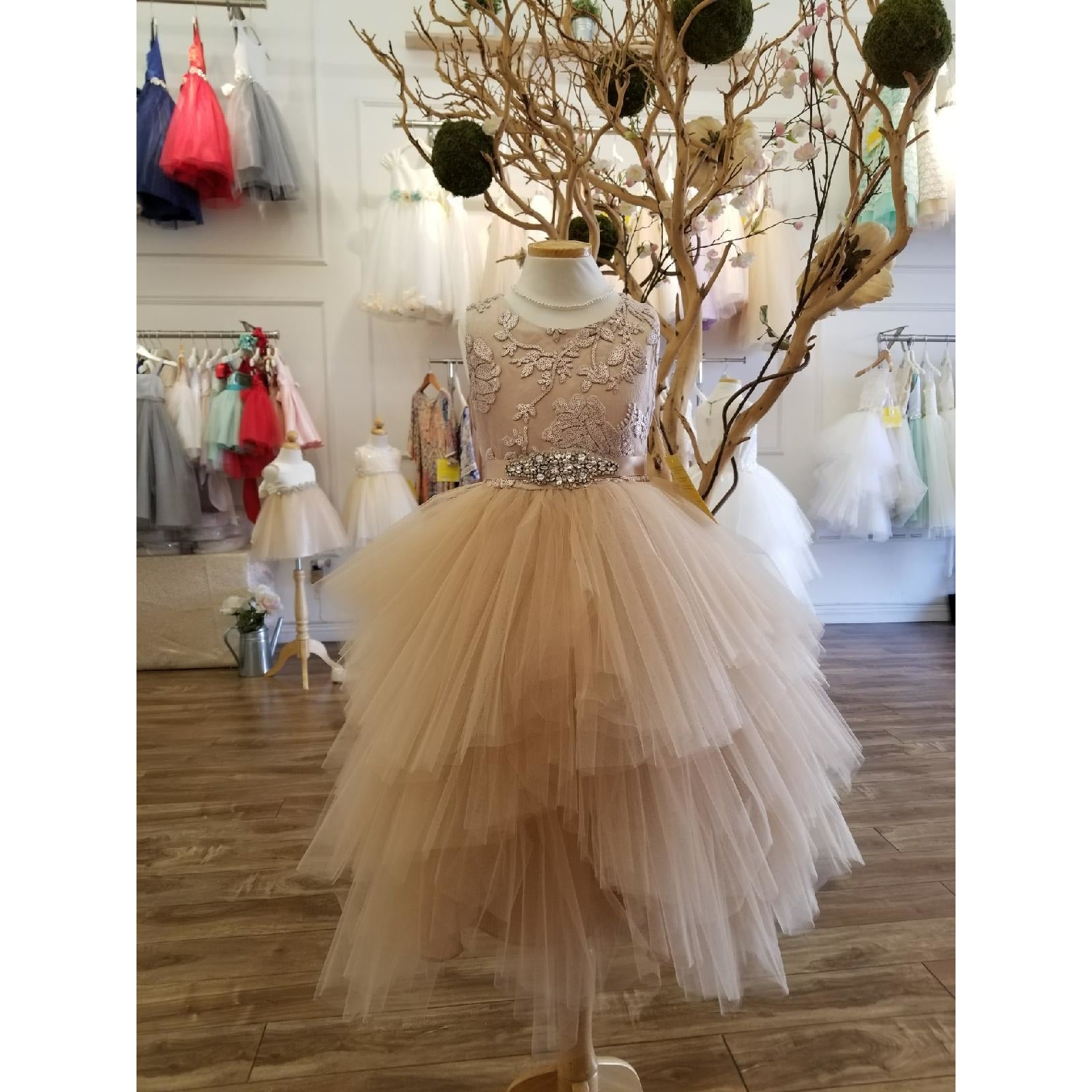 Alexandra Fairytale Flower Girl Dress In Rose Gold Pink Haley Boutique