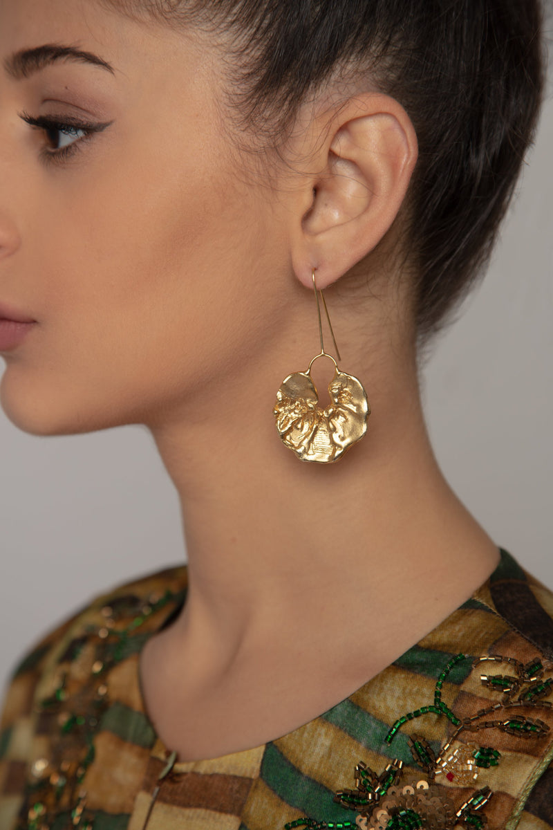 Jungle Feuille Gold Earrings