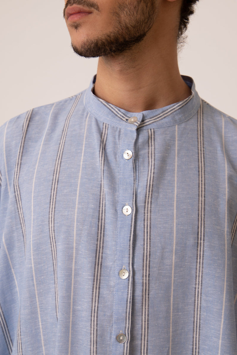 Fahed Buttoned Blue Jellaba