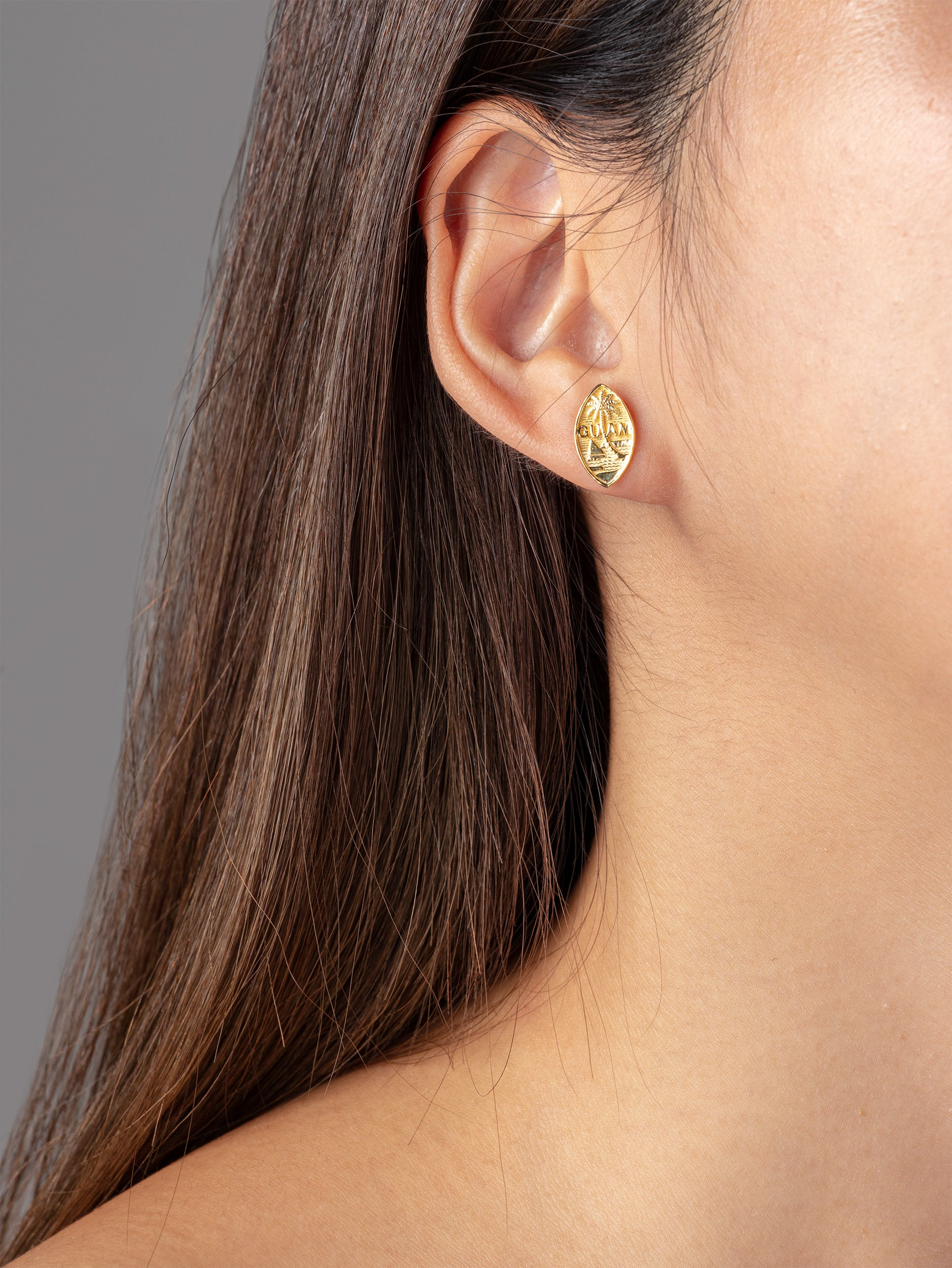 14K Yellow Gold Filled Guam Seal Stud Earrings