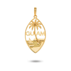 14K Yellow Gold Guam Seal Pendant | Smooth Plain Border