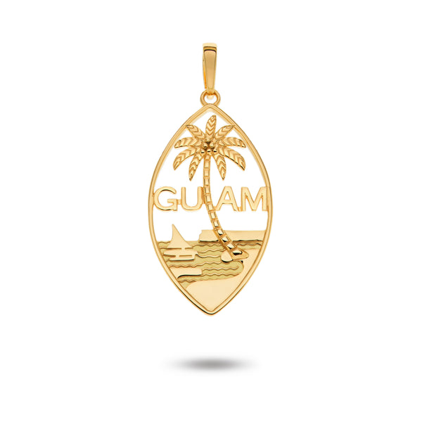 14K Yellow Gold Smooth Guam Seal Pendant