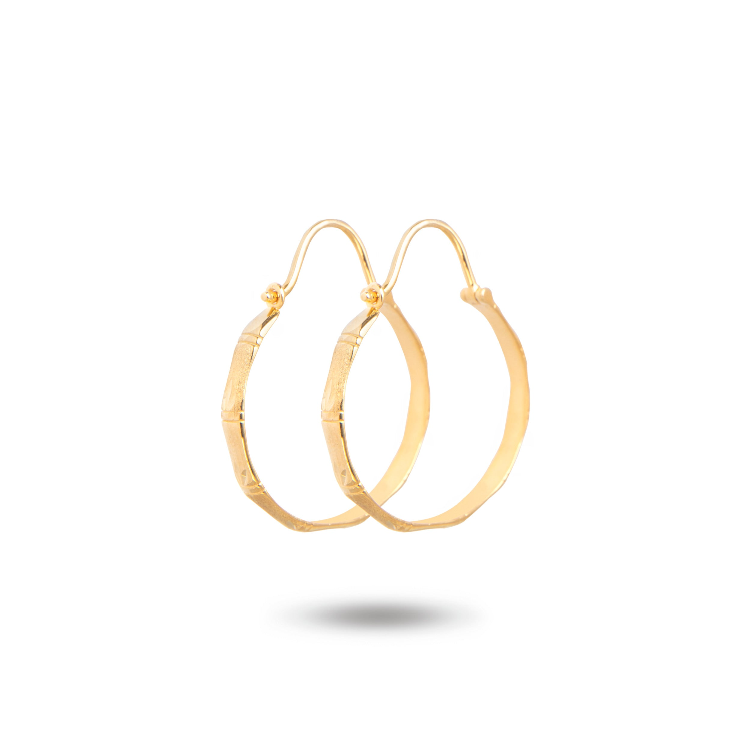 14k Yellow Gold Bamboo Leaf Hoop Earrings | ER585-14