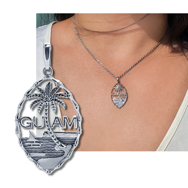 Guam Seal Pendant  |  Bamboo Design  |  14K White Gold  |  Style PD585