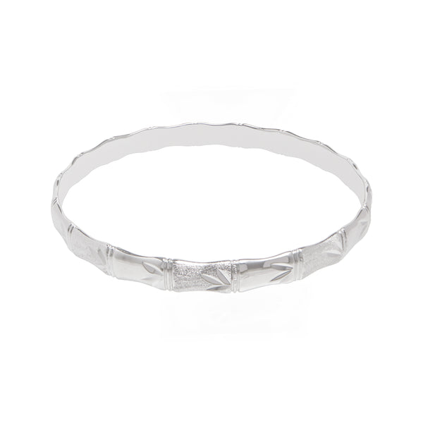 Silver Bamboo Bangle With Leaf Detail | 7MM Thickness