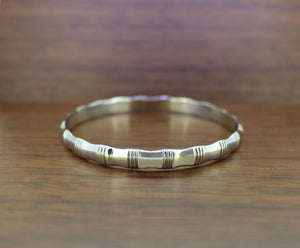Silver Bamboo Bangle | 10MM Thickness