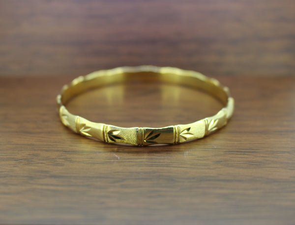 Silver Yellow Bamboo Bangle With Leaf Detail | 7MM Thickness