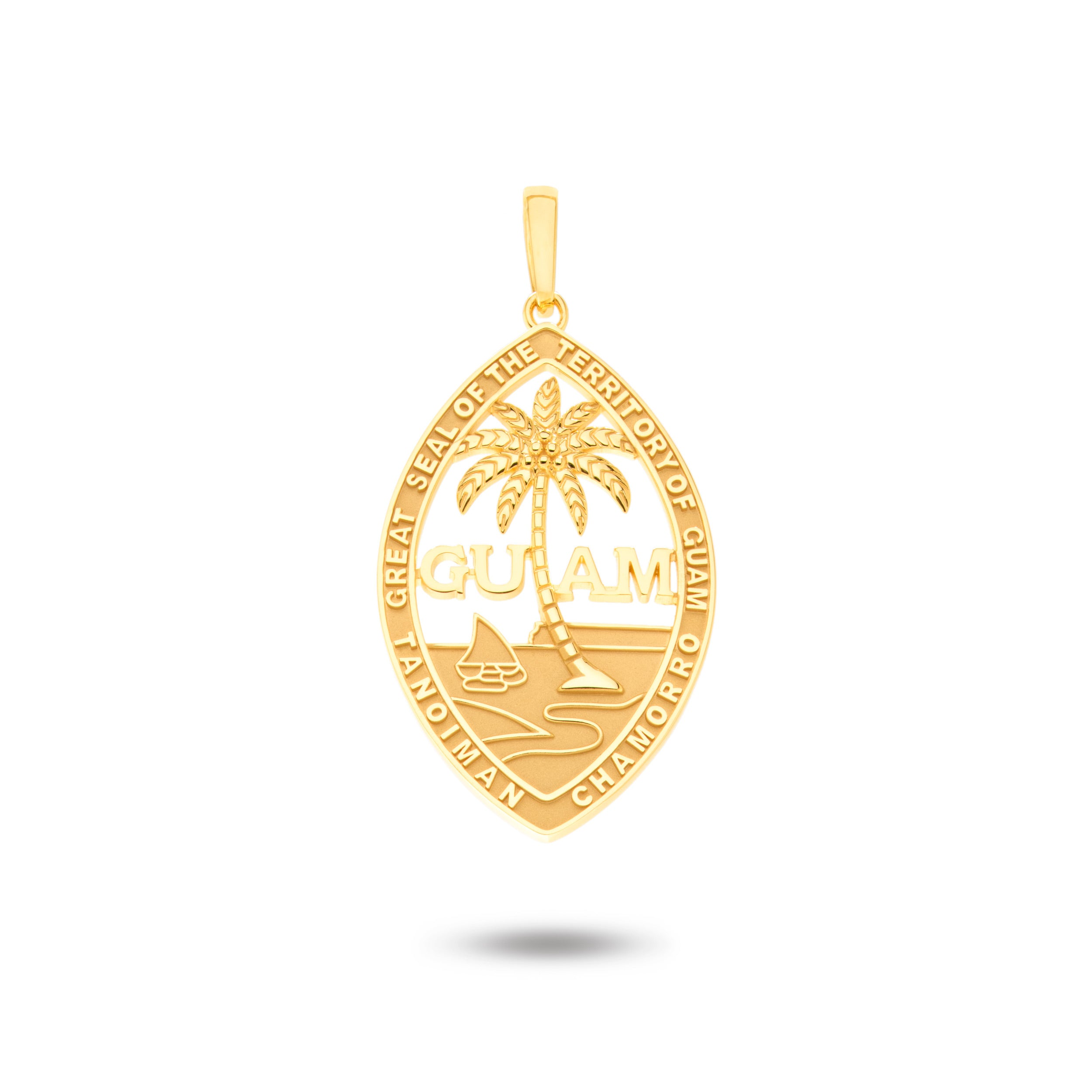 14K Yellow Gold Guam Seal Pendant |  Territory Border | Territory Design