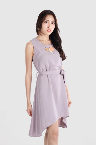 CARLIN ASYMMETRIC SLIP DRESS LIGHT PURPLE