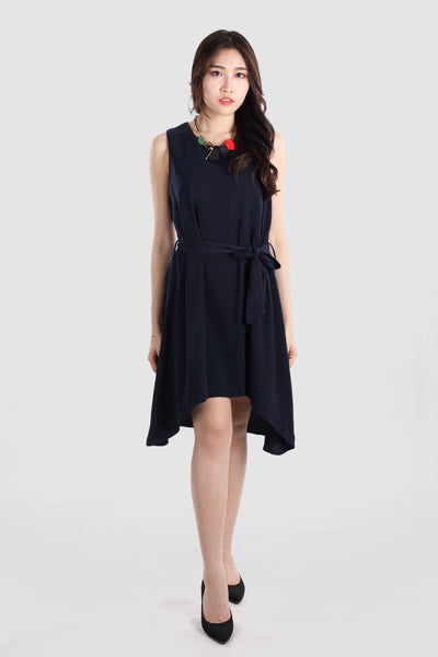 CARLIN ASYMMETRIC SLIP DRESS NAVY
