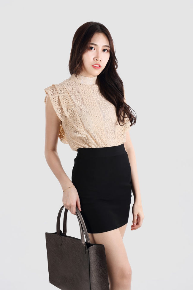CANDICE HIGH COLLAR LACE TOP