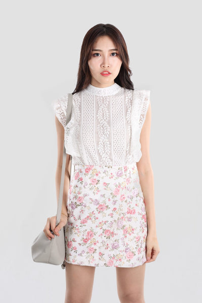 CECILIA EMBOSSED FLORAL SKIRT