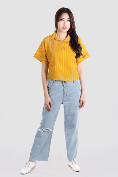 BEVERLY COLLAR TOP YELLOW